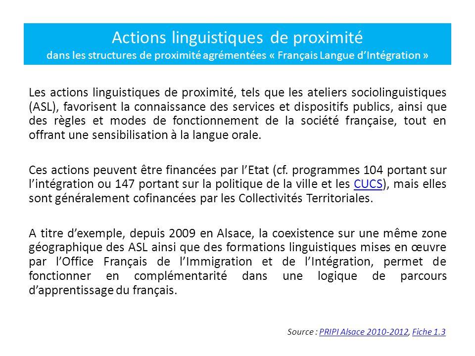 Actions linguistiques de proximité dans les structures de proximité agrémentées « Français Langue d'Intégration »