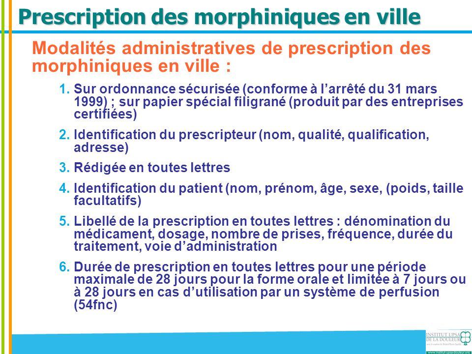 Prescription des morphiniques en ville