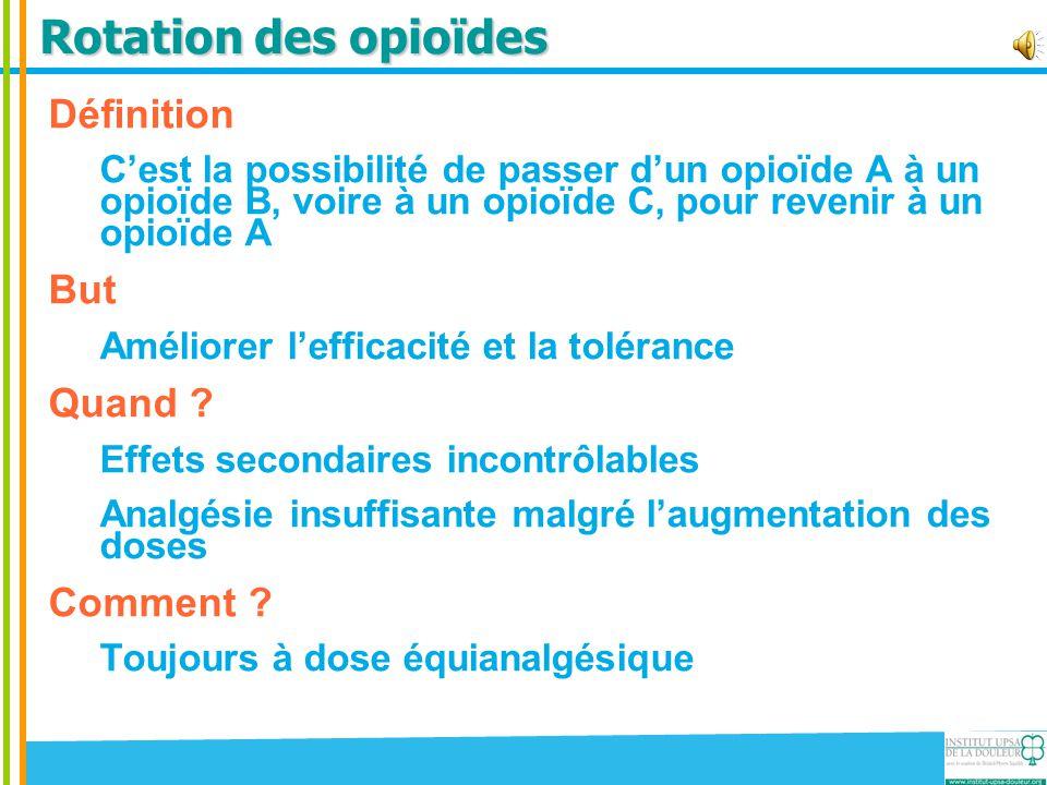 Rotation des opioïdes Définition But Quand Comment