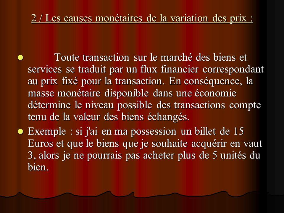 2 / Les causes monétaires de la variation des prix :