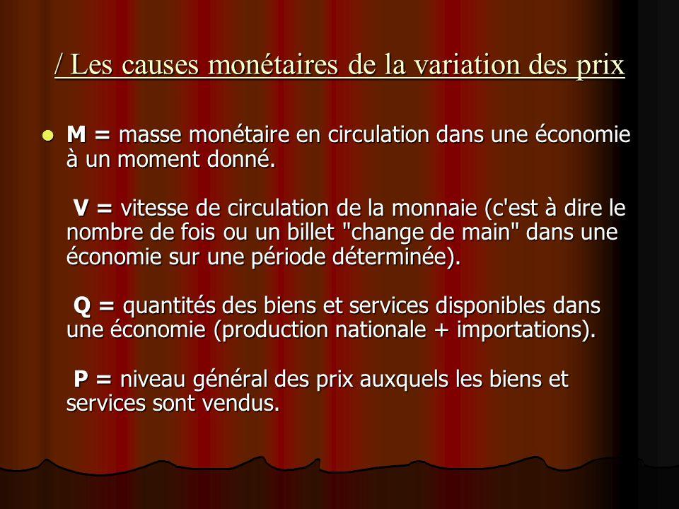 / Les causes monétaires de la variation des prix