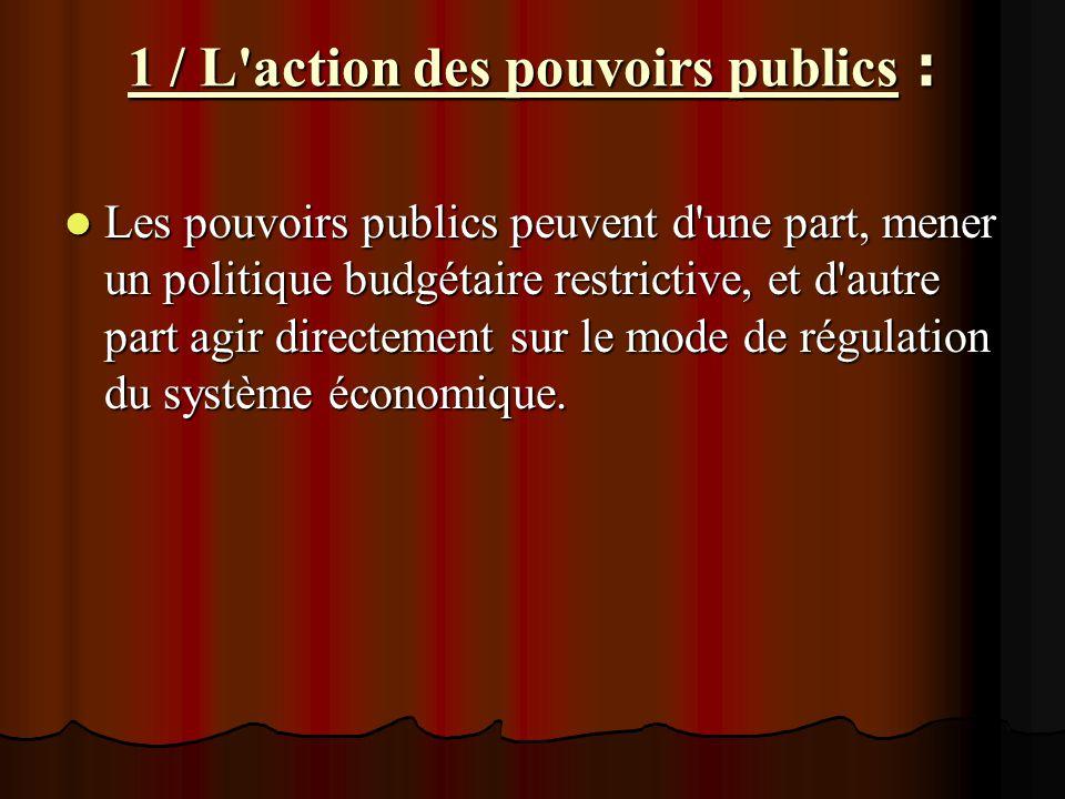 1 / L action des pouvoirs publics :