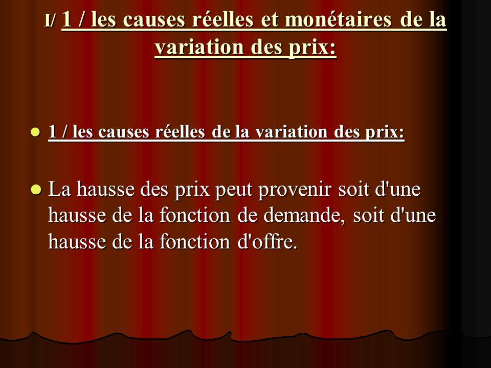 I/ 1 / les causes réelles et monétaires de la variation des prix: