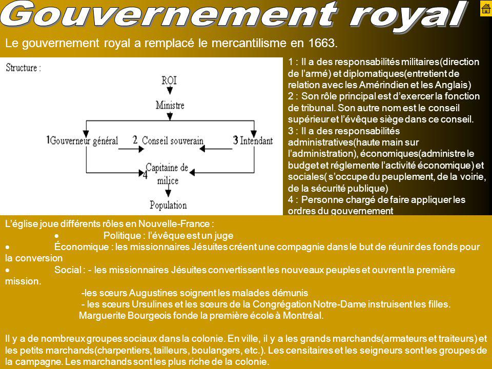 Gouvernement royal Le gouvernement royal a remplacé le mercantilisme en 1663.