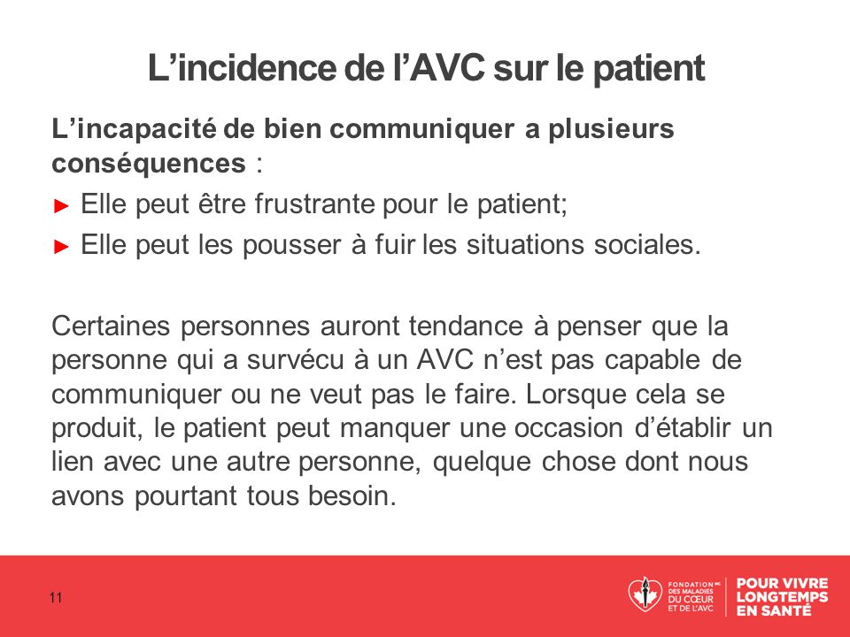 L'incidence de l'AVC sur le patient