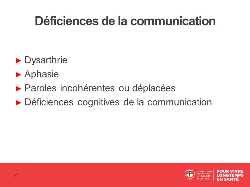 Déficiences de la communication