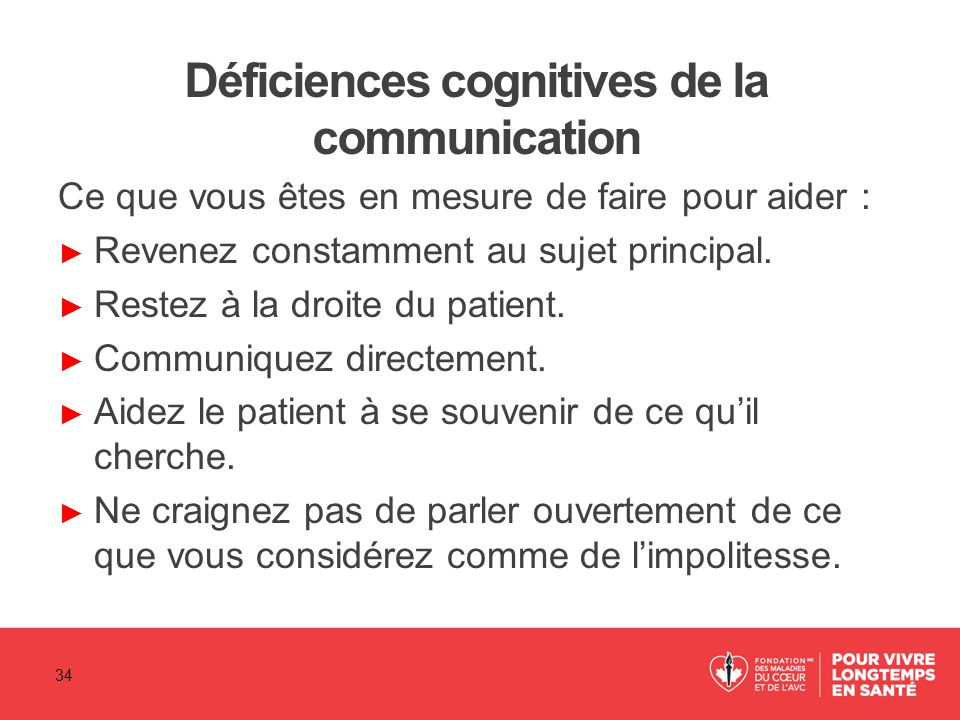 Déficiences cognitives de la communication