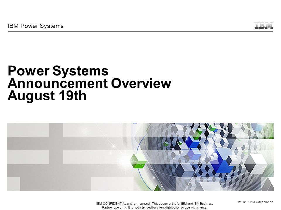 Power Systems Announcement Overview August 19th