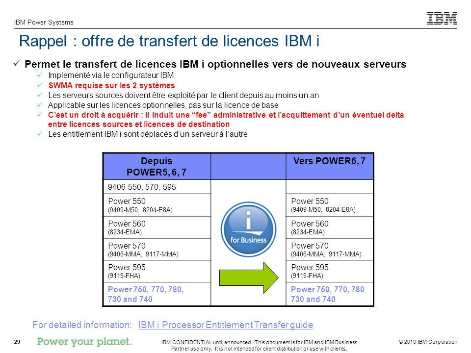 Rappel : offre de transfert de licences IBM i