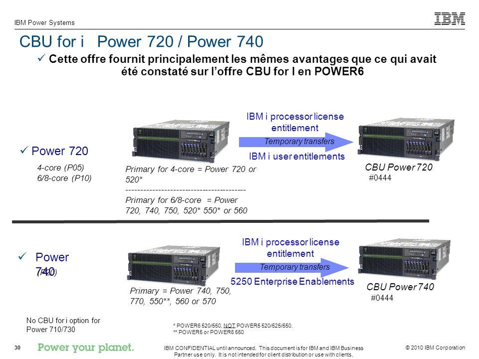 CBU for i Power 720 / Power 740 Power 720 Power 740