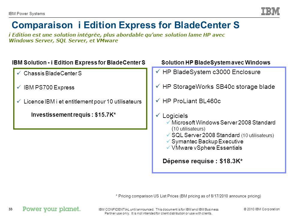 Comparaison i Edition Express for BladeCenter S