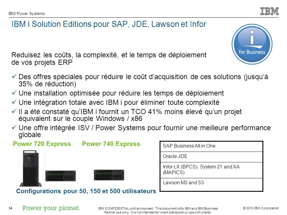 IBM i Solution Editions pour SAP, JDE, Lawson et Infor