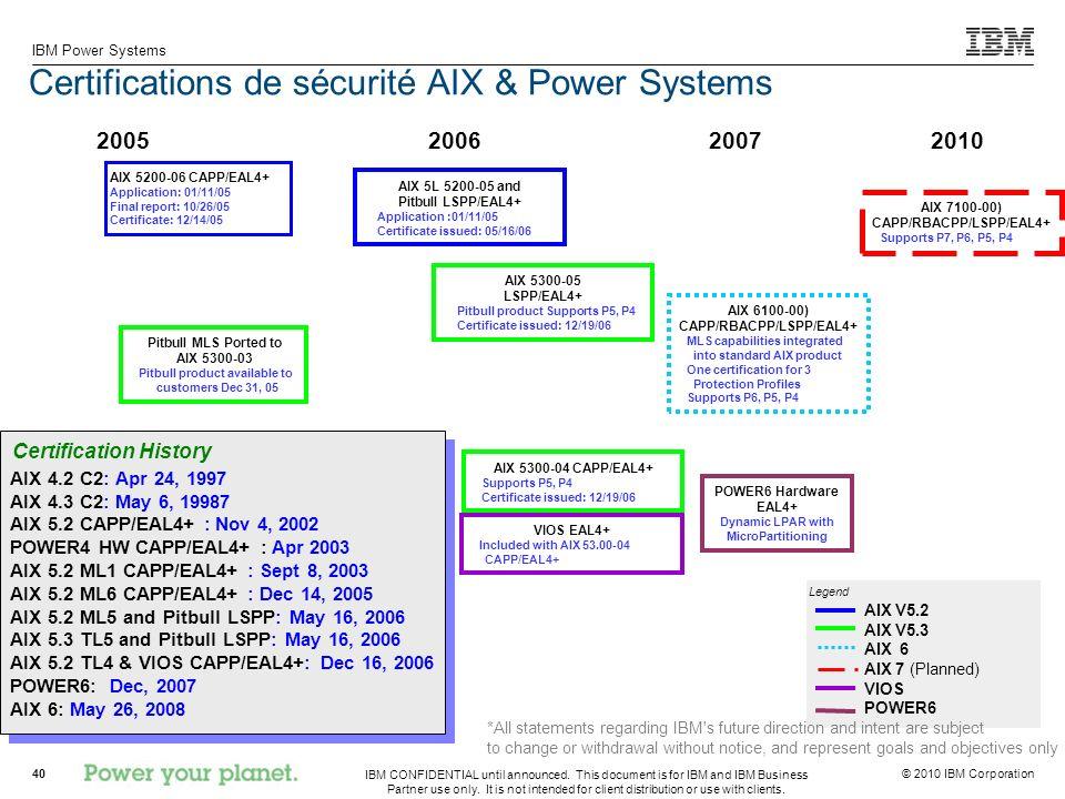 Certifications de sécurité AIX & Power Systems