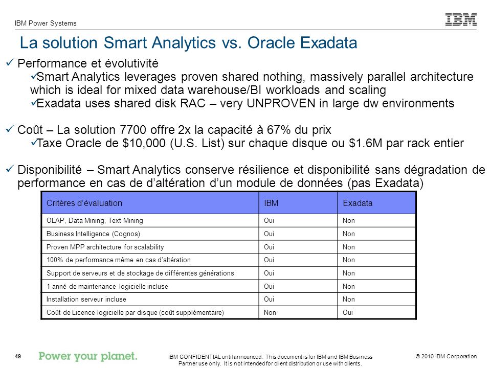 La solution Smart Analytics vs. Oracle Exadata