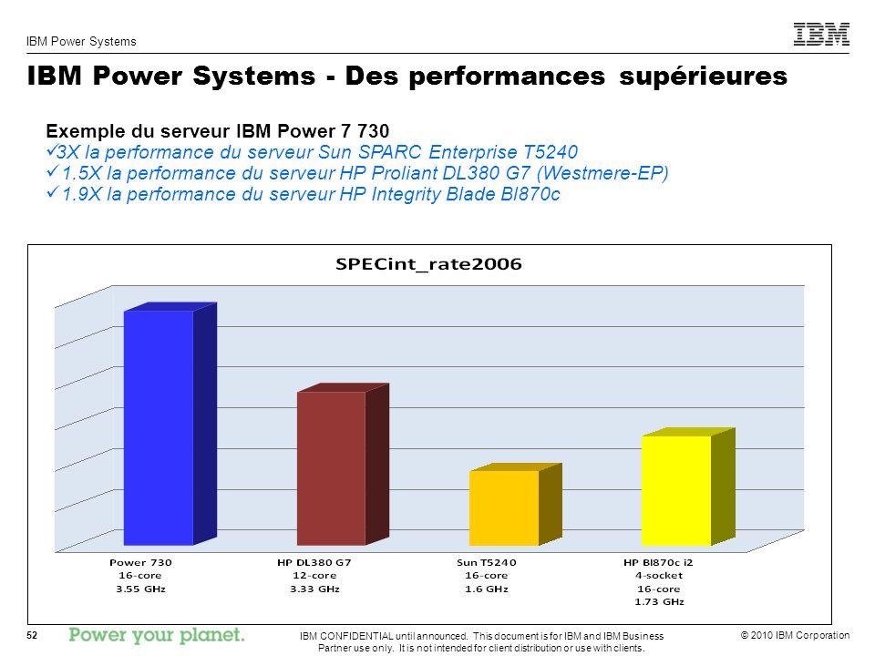 IBM Power Systems - Des performances supérieures