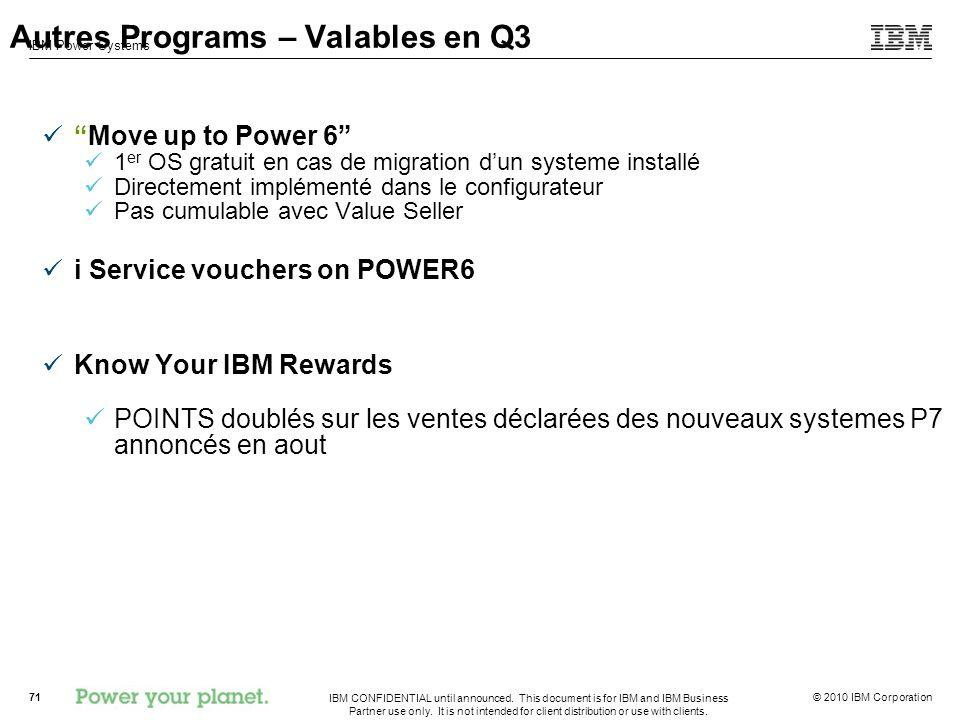 Autres Programs – Valables en Q3