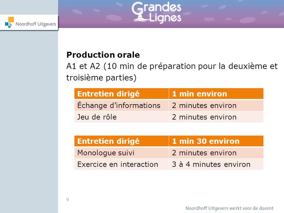 A1 et A2 (10 min de préparation pour la deuxième et troisième parties)