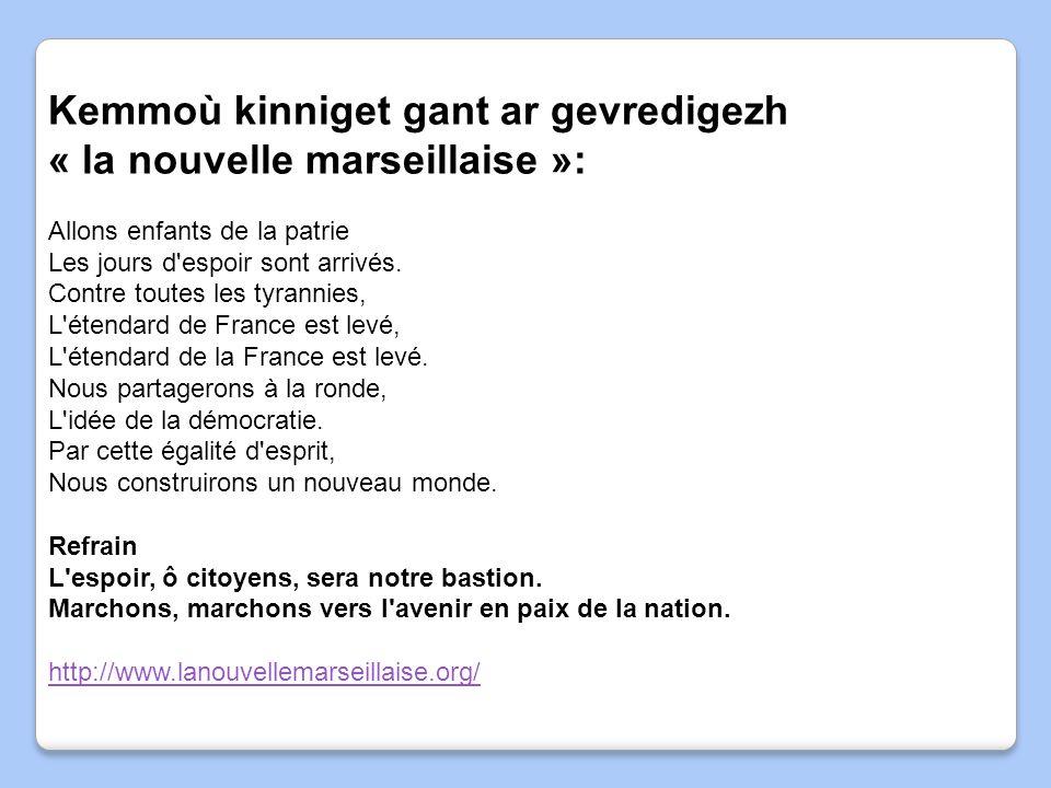 Kemmoù kinniget gant ar gevredigezh « la nouvelle marseillaise »:
