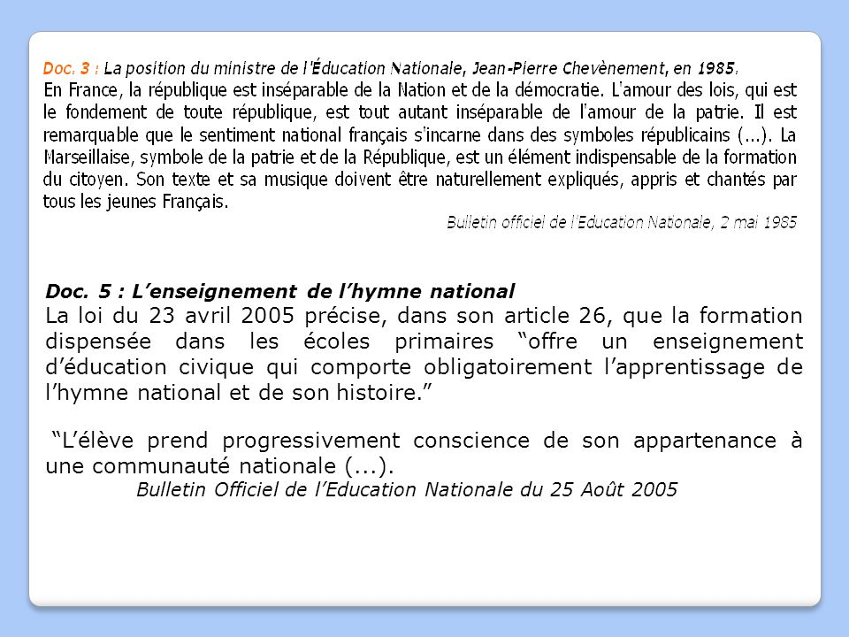 Doc. 5 : L'enseignement de l'hymne national
