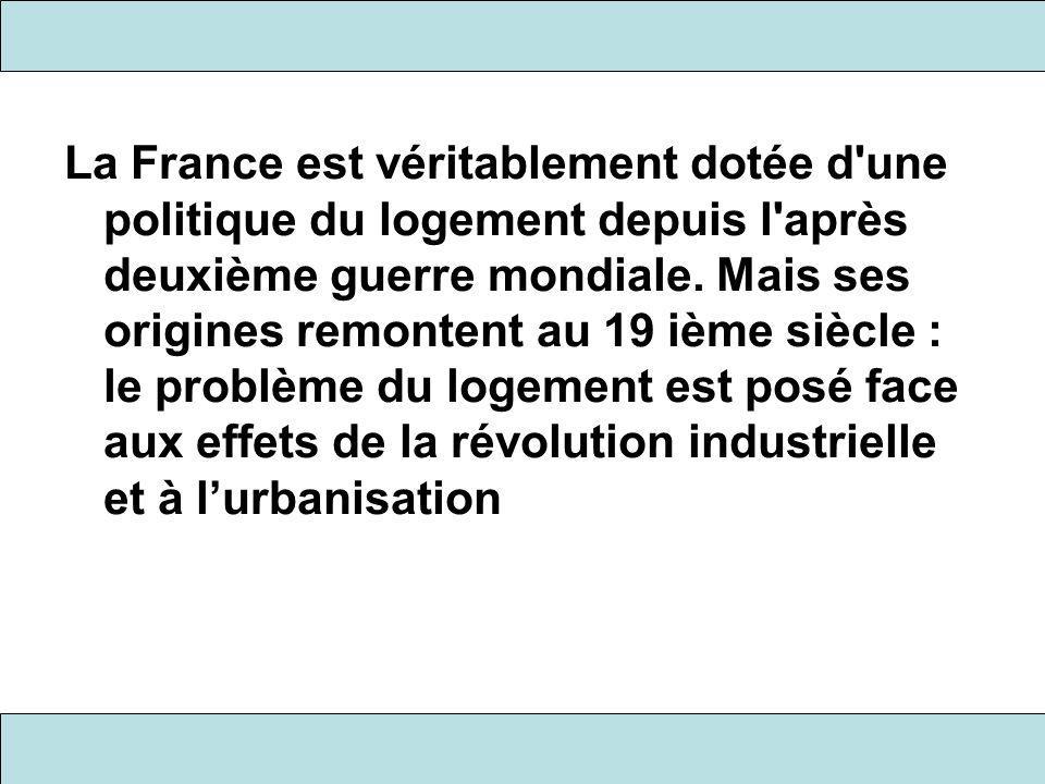 La France est véritablement dotée d une politique du logement depuis l après deuxième guerre mondiale.