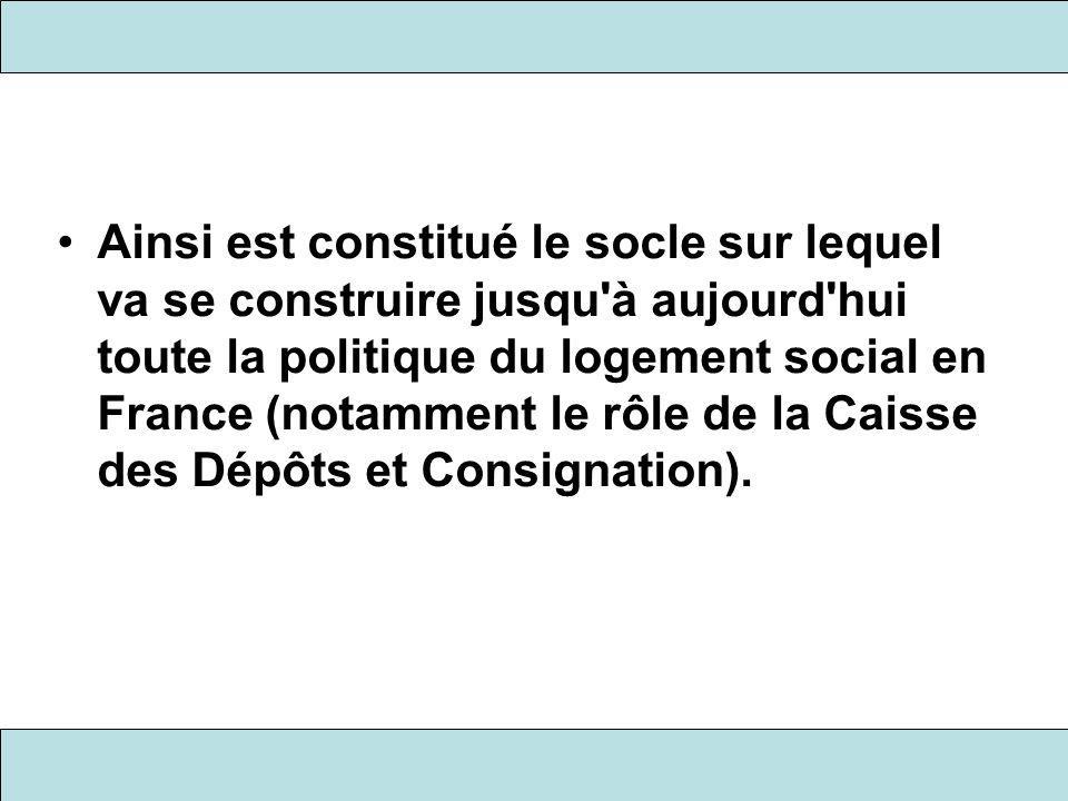 Ainsi est constitué le socle sur lequel va se construire jusqu à aujourd hui toute la politique du logement social en France (notamment le rôle de la Caisse des Dépôts et Consignation).