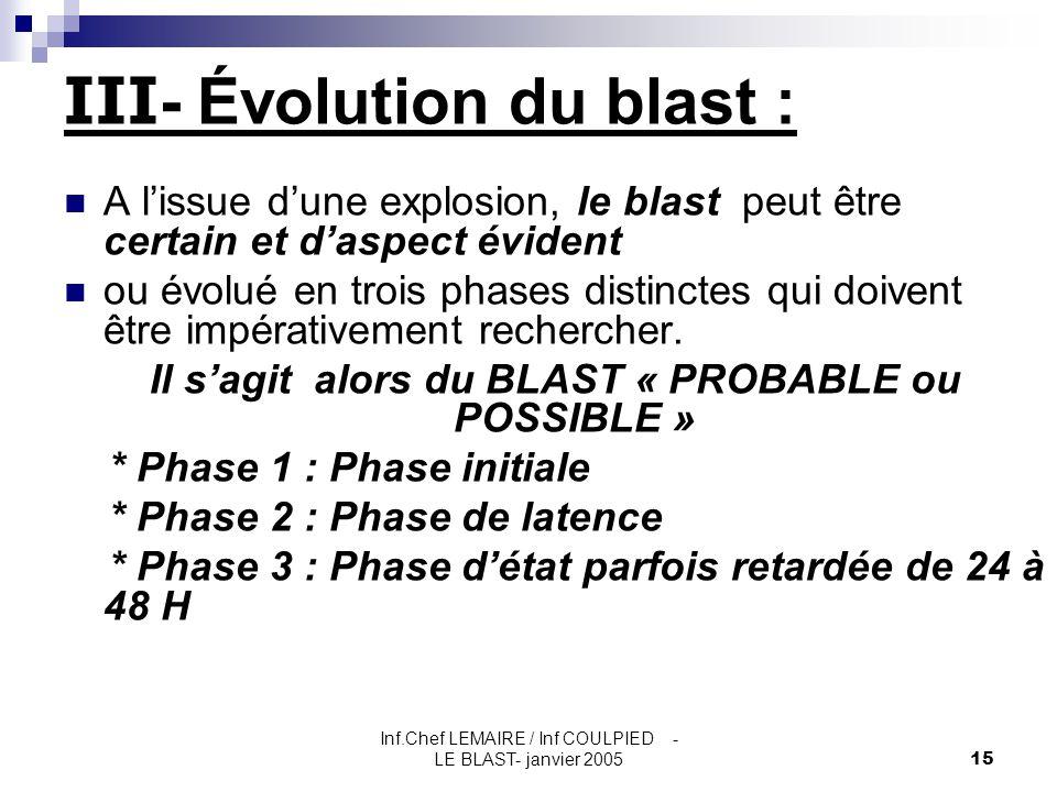 III- Évolution du blast :