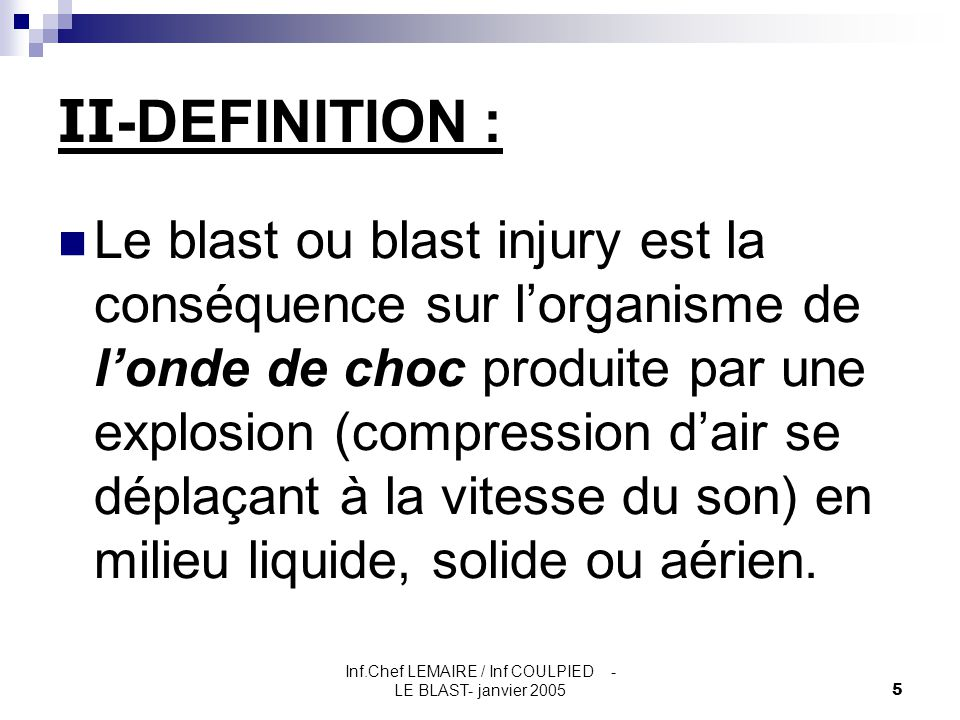Inf.Chef LEMAIRE / Inf COULPIED -LE BLAST- janvier 2005