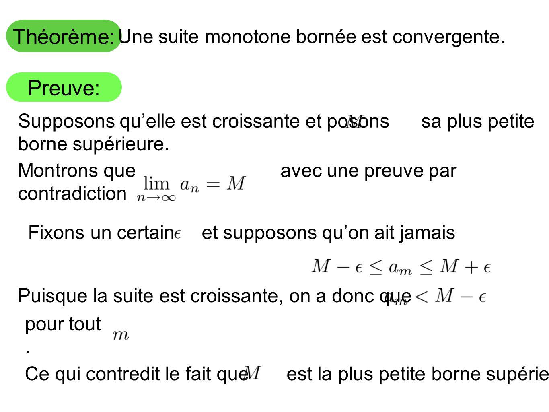 Une suite monotone bornée est convergente.