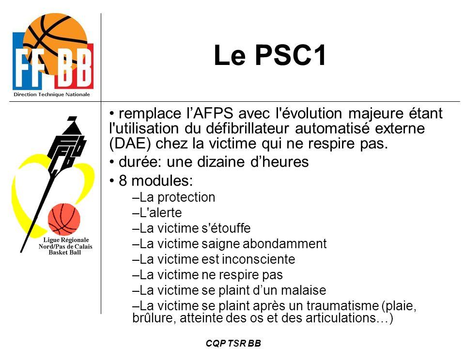 Le PSC1 remplace l'AFPS avec l évolution majeure étant l utilisation du défibrillateur automatisé externe (DAE) chez la victime qui ne respire pas.
