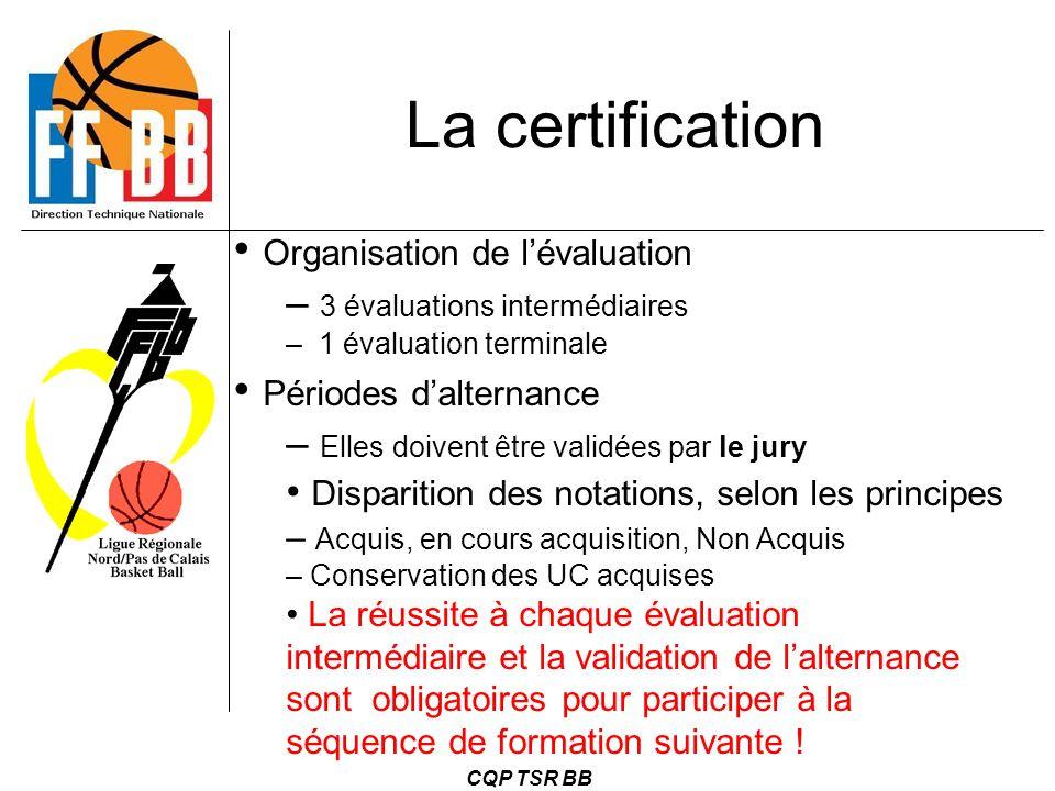 La certification Organisation de l'évaluation Périodes d'alternance
