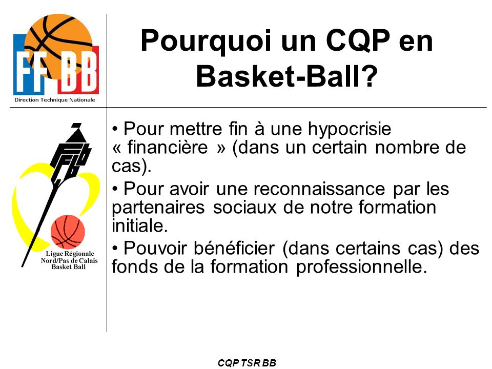 Pourquoi un CQP en Basket-Ball