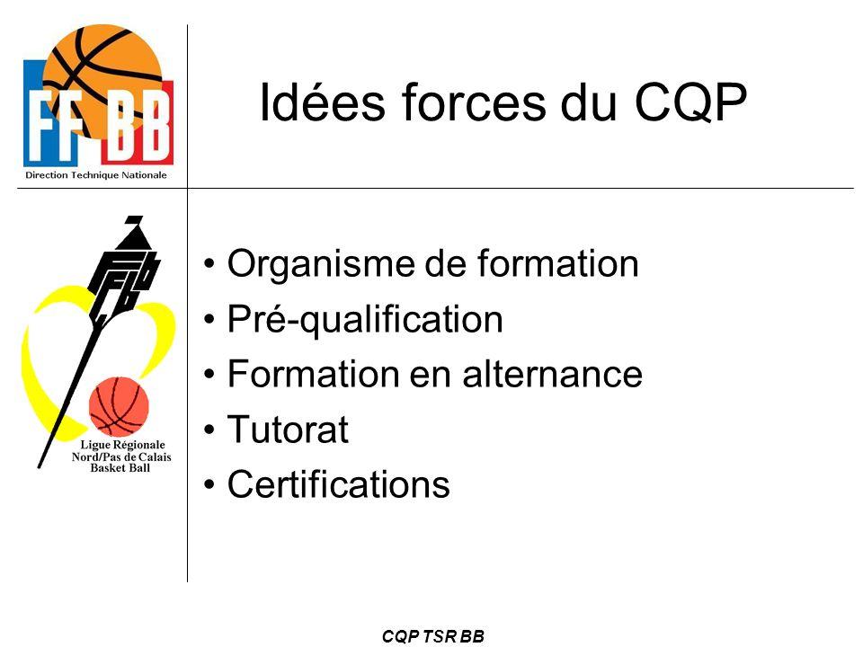 Idées forces du CQP Organisme de formation Pré-qualification