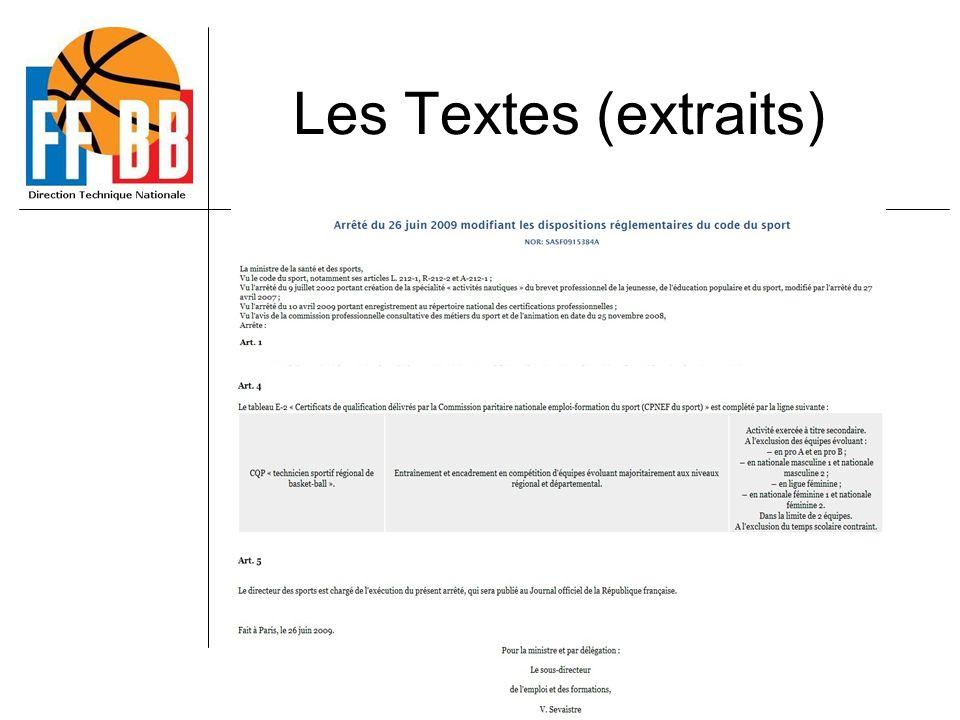 Les Textes (extraits) CQP TSR BB 21