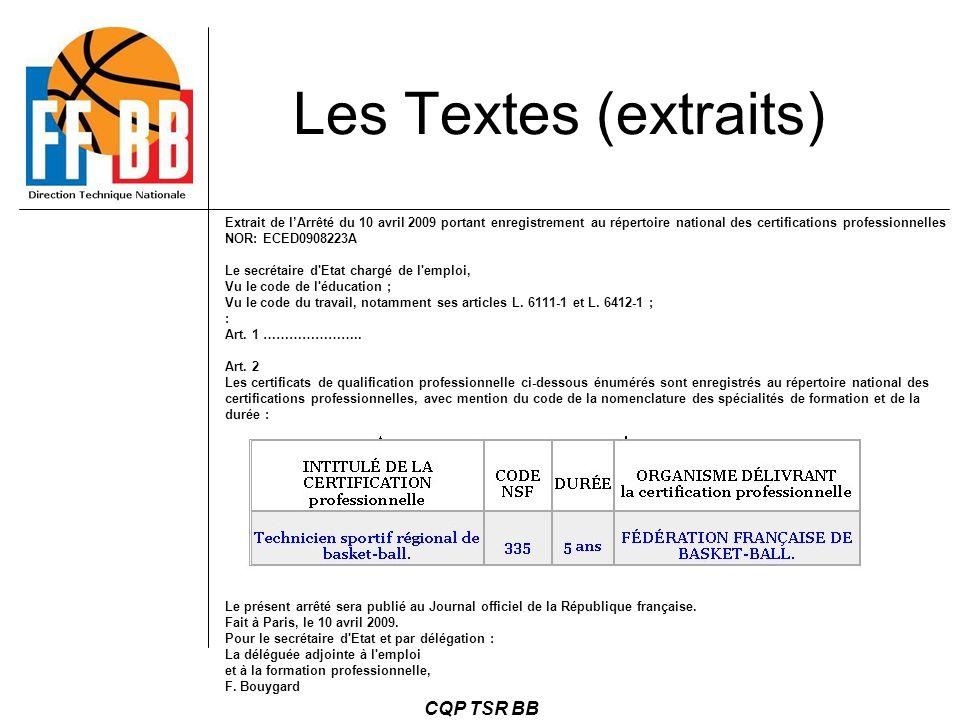 Les Textes (extraits) CQP TSR BB 22
