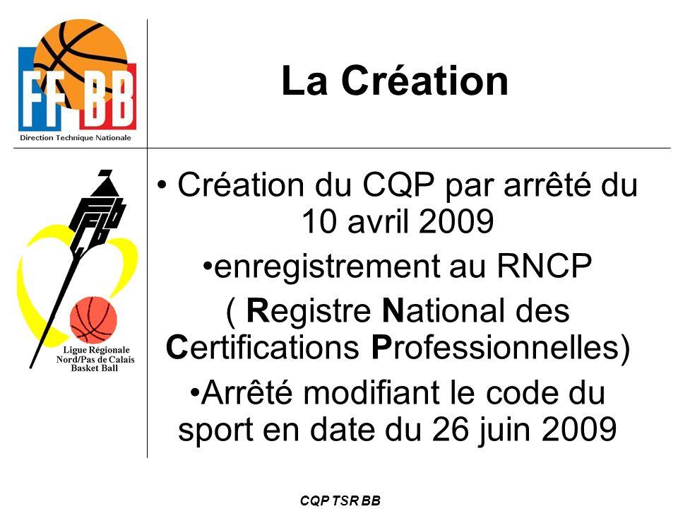La Création Création du CQP par arrêté du 10 avril 2009