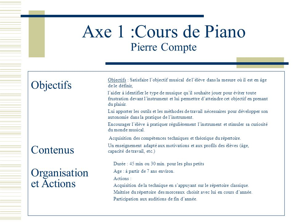 Axe 1 :Cours de Piano Pierre Compte