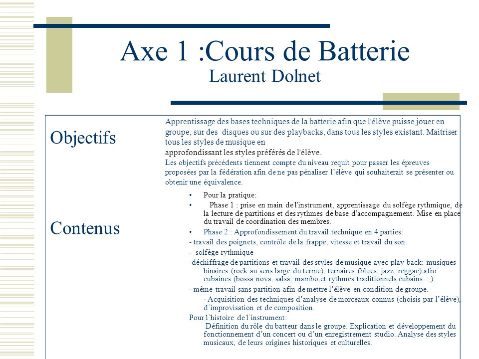 Axe 1 :Cours de Batterie Laurent Dolnet