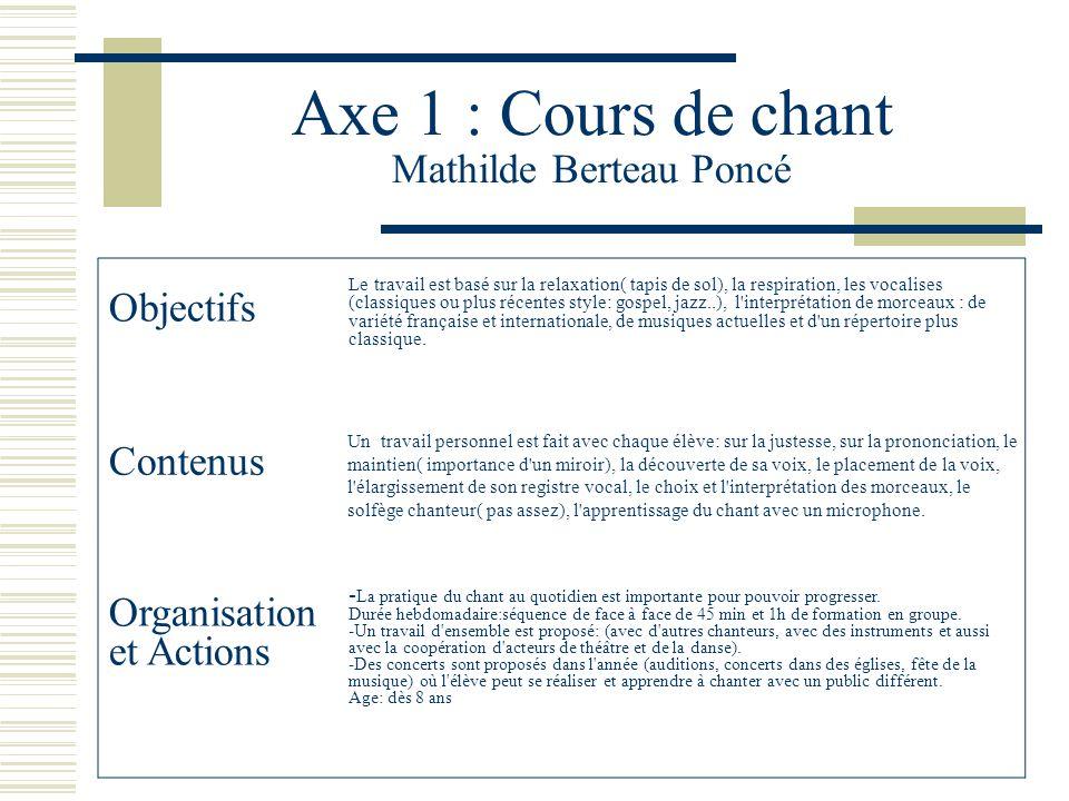 Axe 1 : Cours de chant Mathilde Berteau Poncé