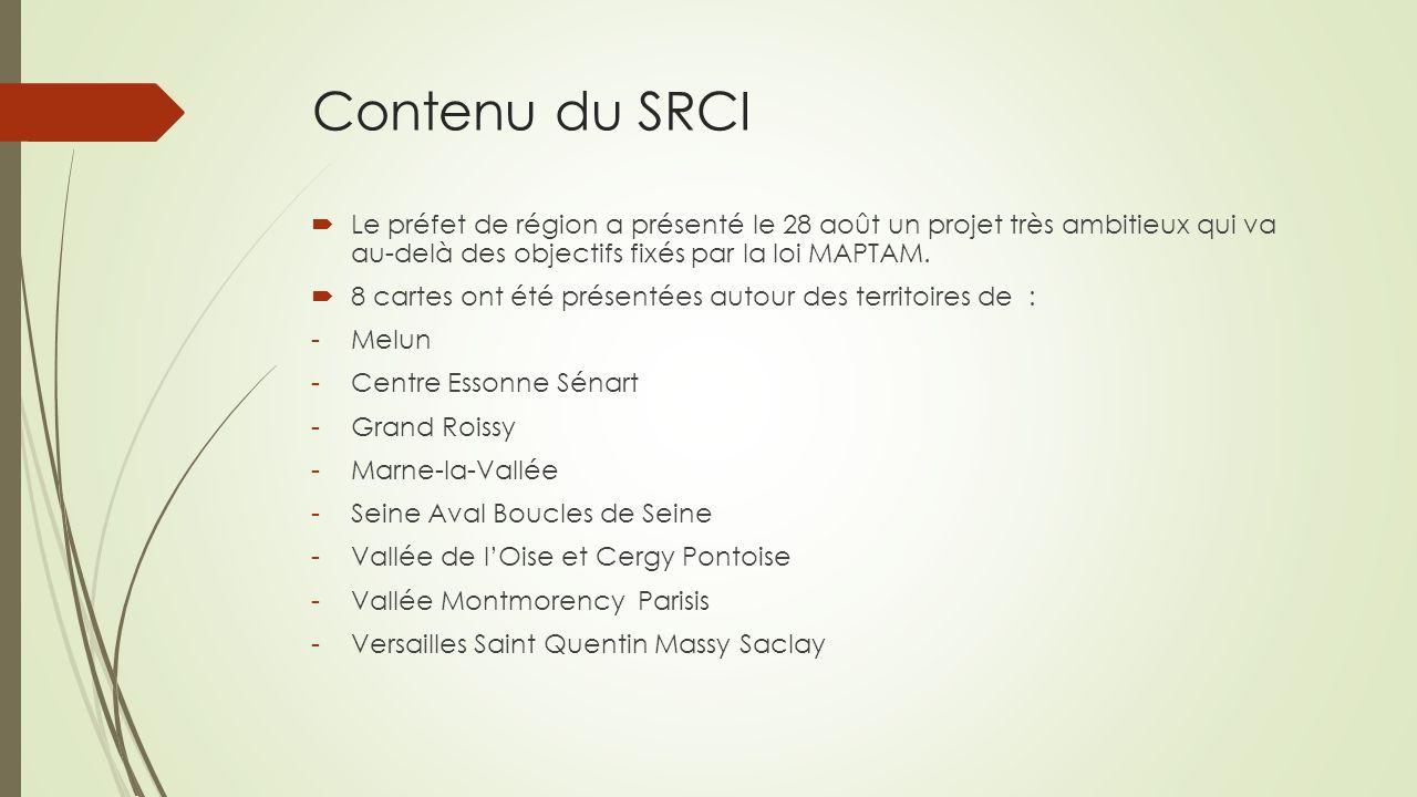 Contenu du SRCI Le préfet de région a présenté le 28 août un projet très ambitieux qui va au-delà des objectifs fixés par la loi MAPTAM.