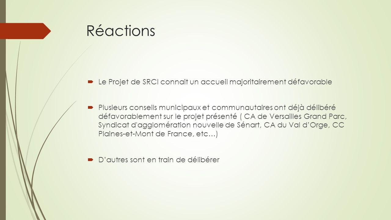 Réactions Le Projet de SRCI connait un accueil majoritairement défavorable.