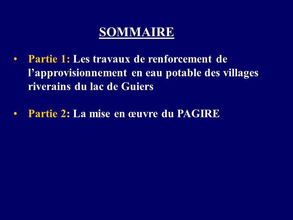 SOMMAIRE Partie 1: Les travaux de renforcement de l'approvisionnement en eau potable des villages riverains du lac de Guiers.
