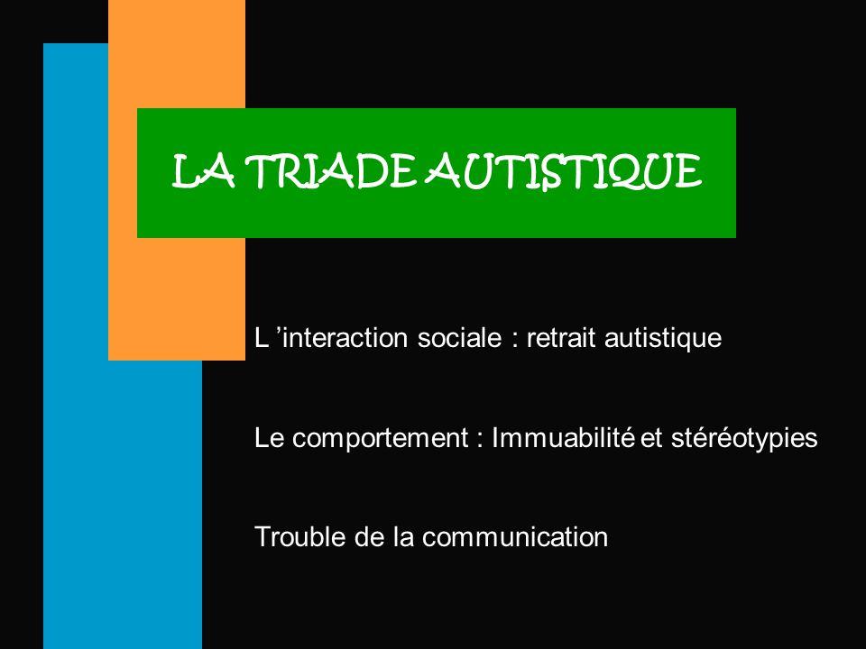 LA TRIADE AUTISTIQUE L 'interaction sociale : retrait autistique