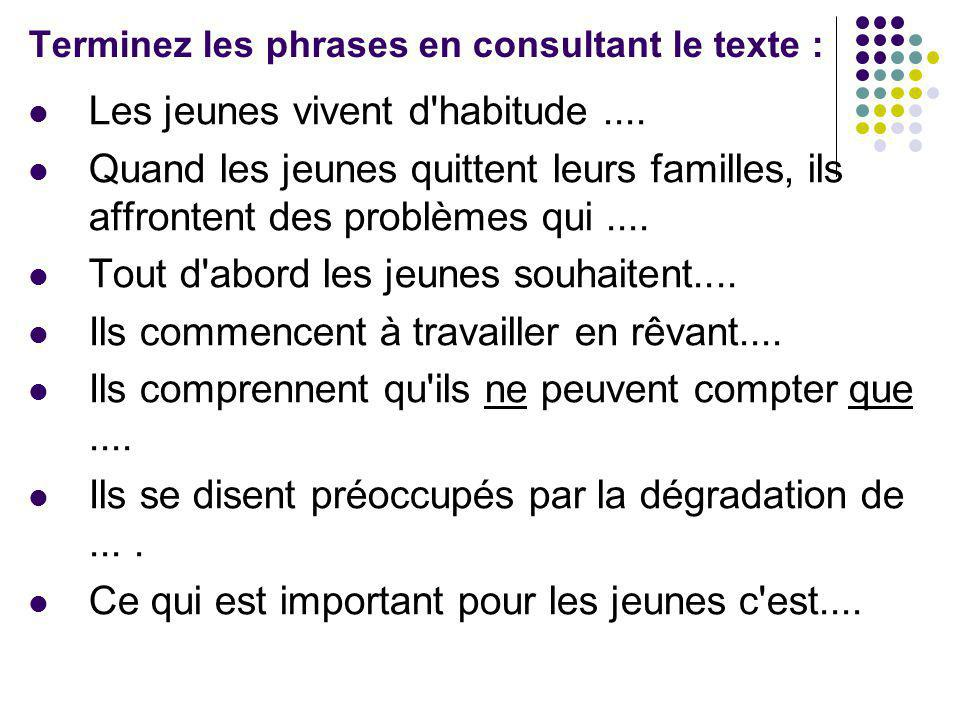 Terminez les phrases en consultant le texte :