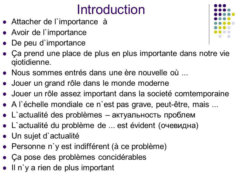 Introduction Attacher de l`importance à Avoir de l`importance