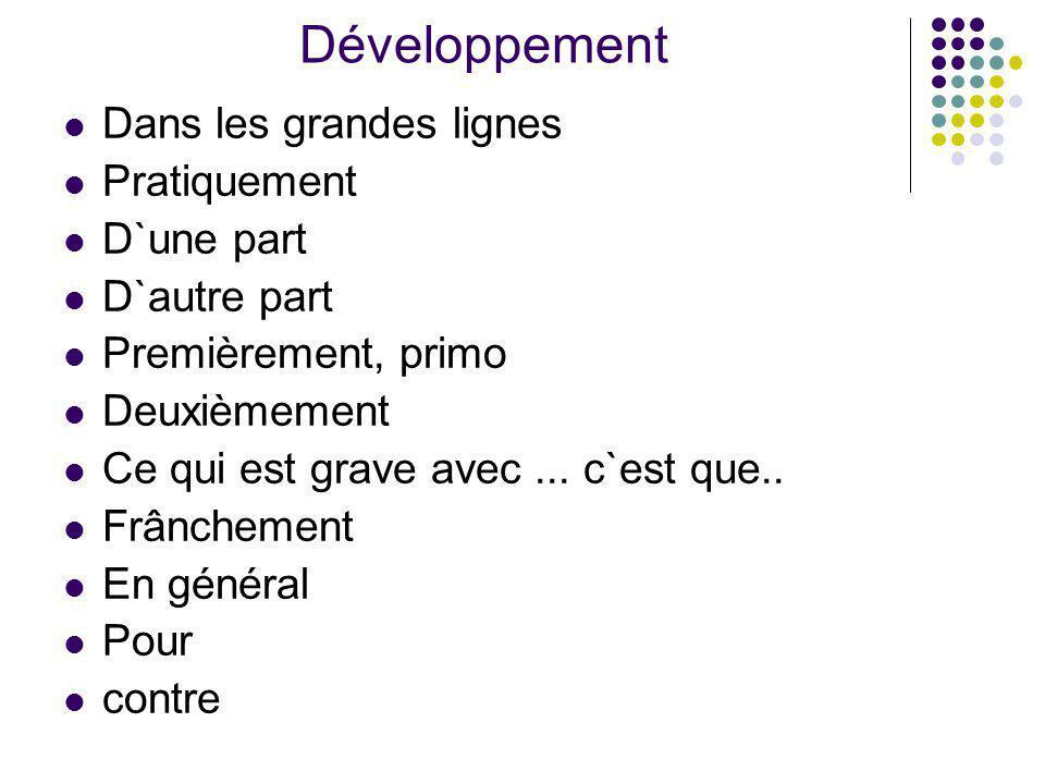 Développement Dans les grandes lignes Pratiquement D`une part