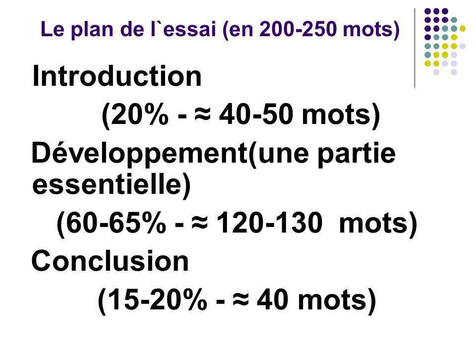 Le plan de l`essai (en 200-250 mots)