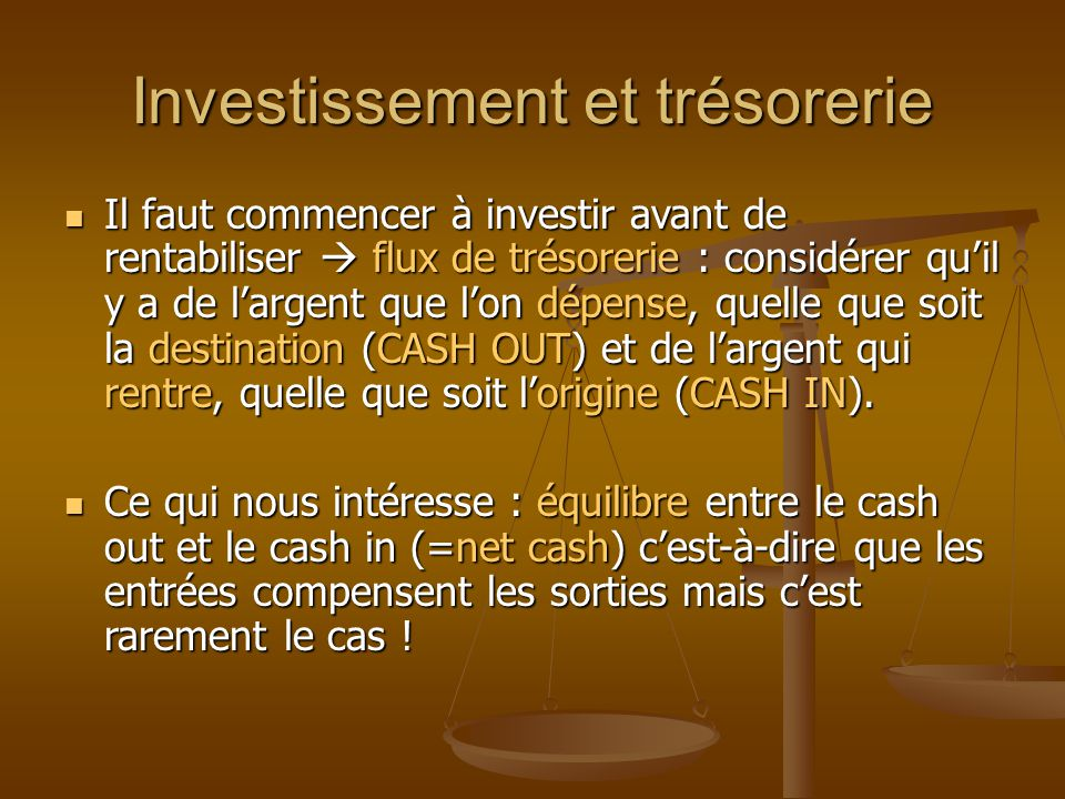 Investissement et trésorerie