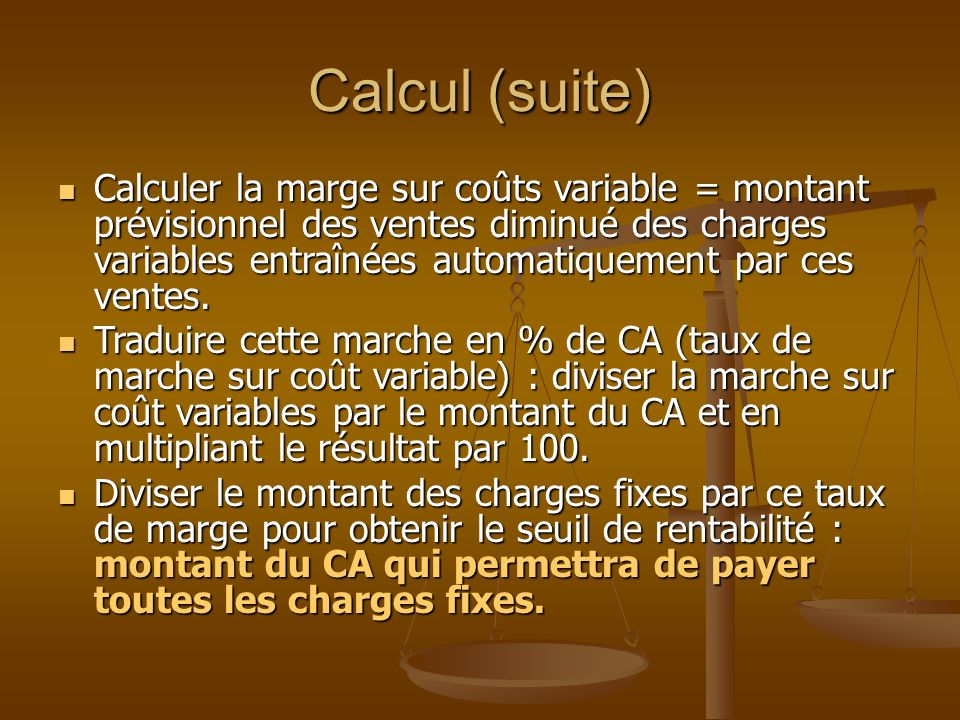Calcul (suite)