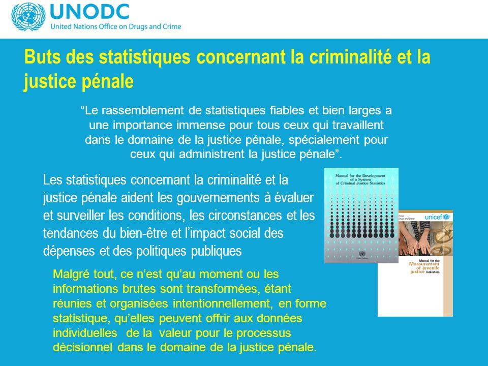 Buts des statistiques concernant la criminalité et la justice pénale