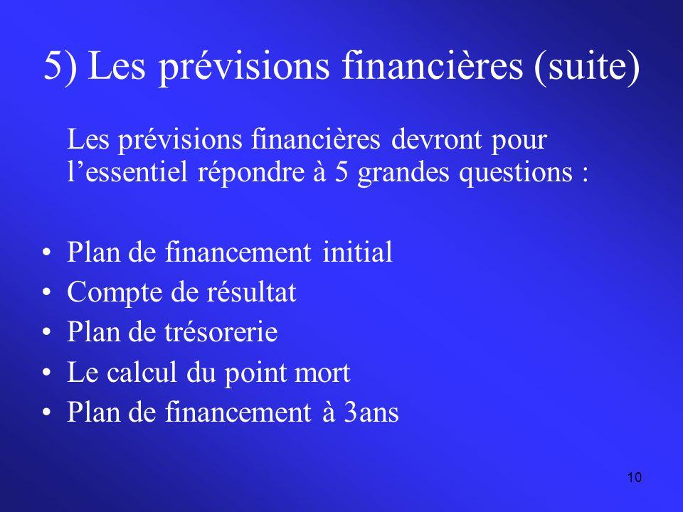 5) Les prévisions financières (suite)